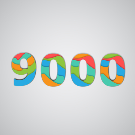 two thousand: Colorful layered number, vector