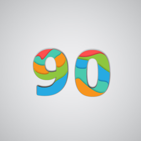 three layered: Colorful layered number, vector