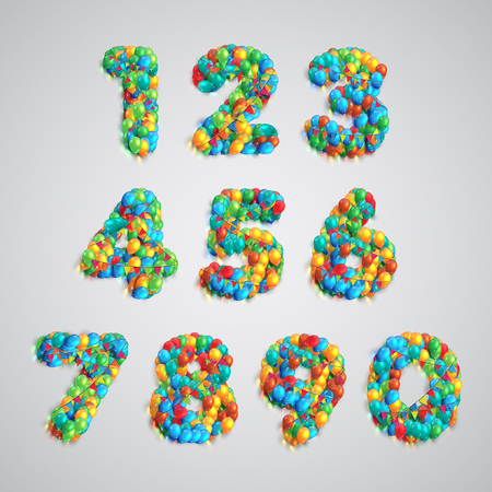 Colorful balloons forming typeset numbers, vector Çizim