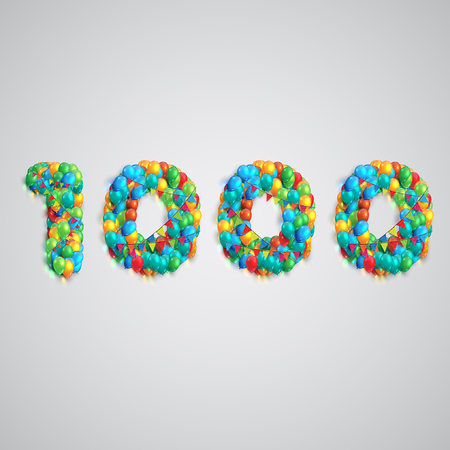 Colorful balloons forming a number, vector Illustration
