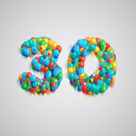 sixty: Colorful balloons forming a number, vector Illustration