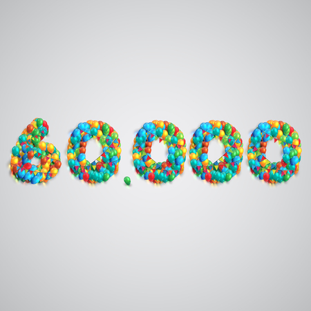 forming: Colorful balloons forming a number, vector Illustration