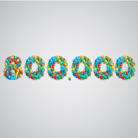 twenty six: Colorful balloons forming a number, vector Illustration
