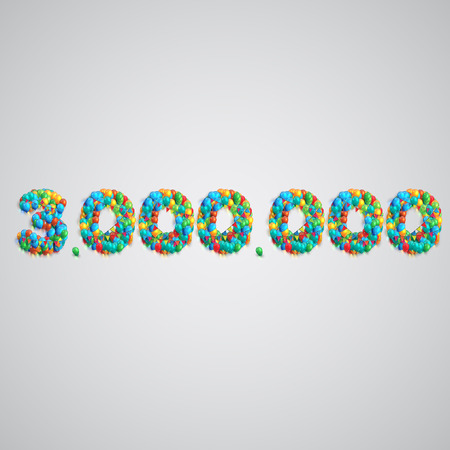 one hundred and ten: Colorful balloons forming a number, vector Illustration