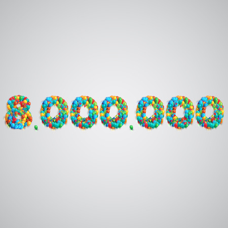 seventy two: Colorful balloons forming a number, vector Illustration