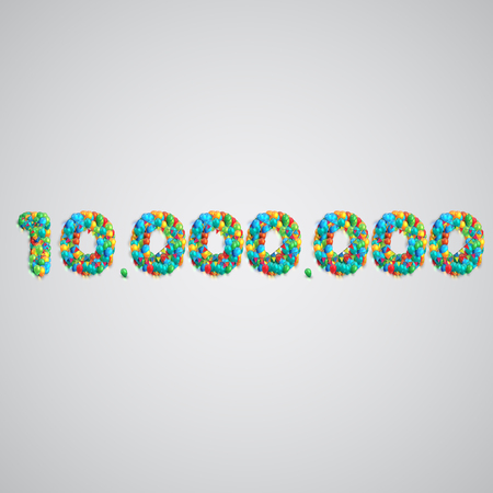Colorful balloons forming a number, vector  イラスト・ベクター素材