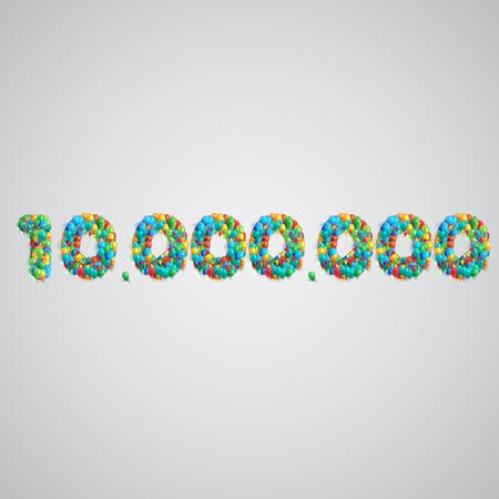 Kleurrijke ballonnen de vorming van een nummer, vector Stock Illustratie