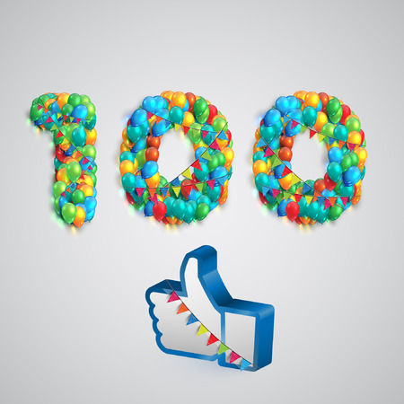 Number of likes with a thumbs up sign, vector Çizim