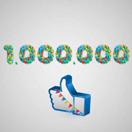 likes: Number of likes with a thumbs up sign, vector Illustration