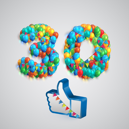 seventy two: Number of likes with a thumbs up sign, vector Illustration