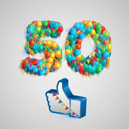 Number of likes with a thumbs up sign, vector Иллюстрация