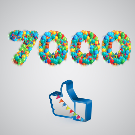 twenty six: Number of likes with a thumbs up sign, vector Illustration