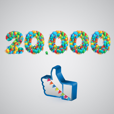 two thousand: Number of likes with a thumbs up sign, vector Illustration