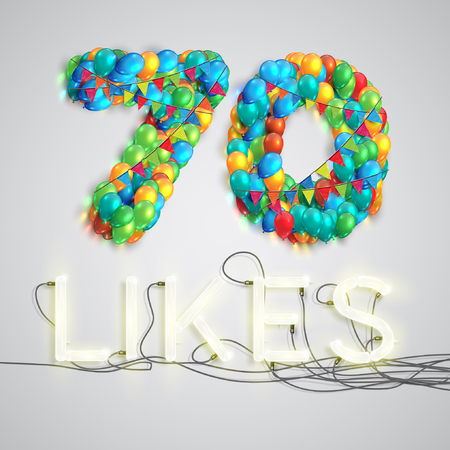 one hundred and ten: Number of likes by balloons made with neon lights, vector