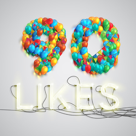 neon lights: Number of likes by balloons made with neon lights, vector