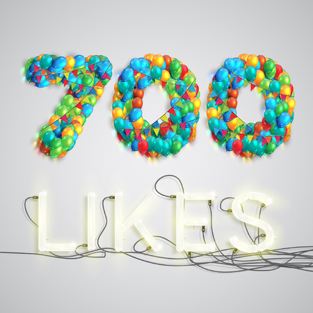 likes: Number of likes by balloons made with neon lights, vector