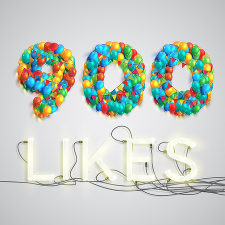seventy two: Number of likes by balloons made with neon lights, vector