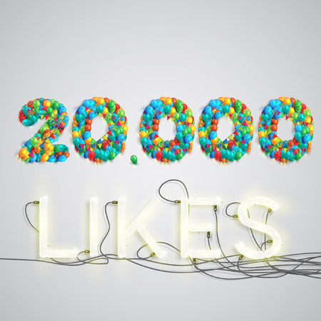 Number of likes by balloons made with neon lights, vector