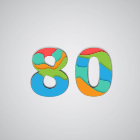 layered: Colorful layered number, vector