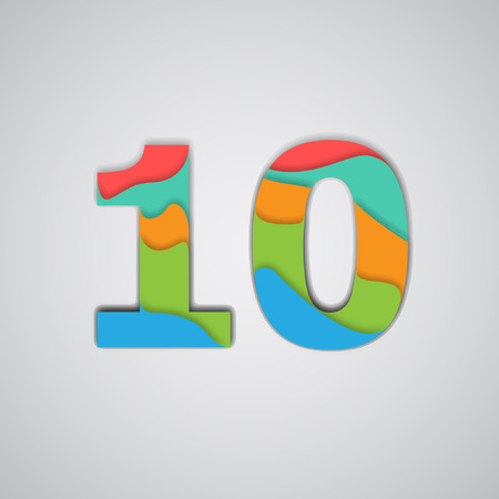 Colorful layered number, vector