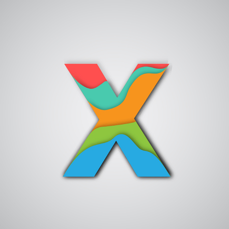 layered: Colorful 3D layered character from the typeset, vector