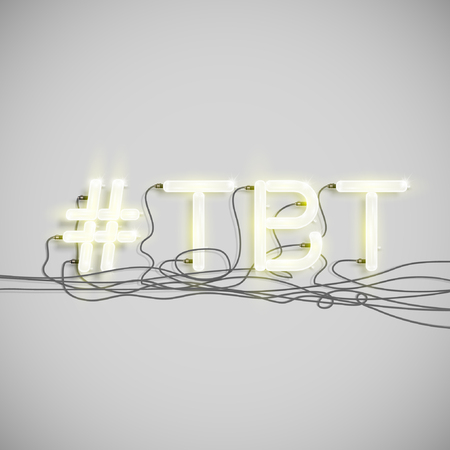 Hashtag neon sign, vector