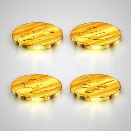 heap: High detailed The coins, vector
