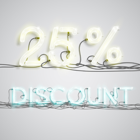 heap: Discount illustration with neon signs, vector