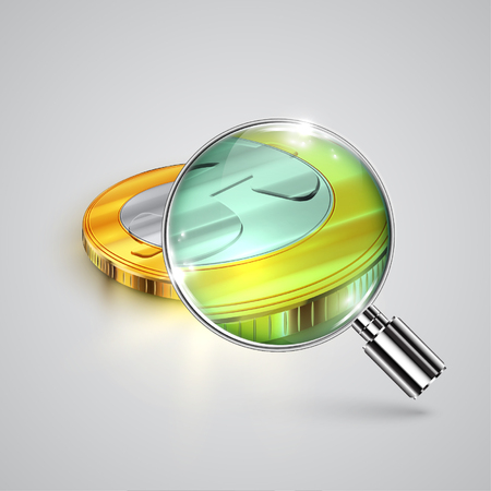 Money with magnifier, vector Illustration