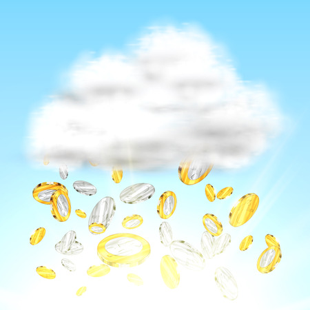 Money falling from cloud, vector Illustration