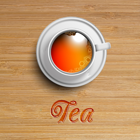 High detailed The tea cup on wood vector Illustration