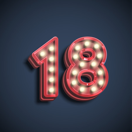 Number typography, vector