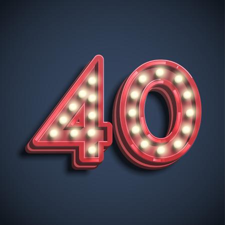 Número tipografía, vector