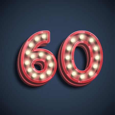 Number typography, vector