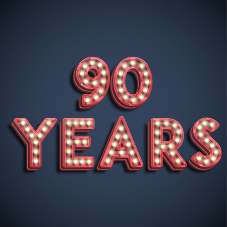 90 years typography, vector