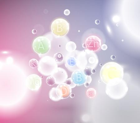 ビタミンの分子図、ベクトル
