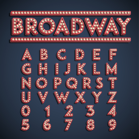 Broadway font set, vector