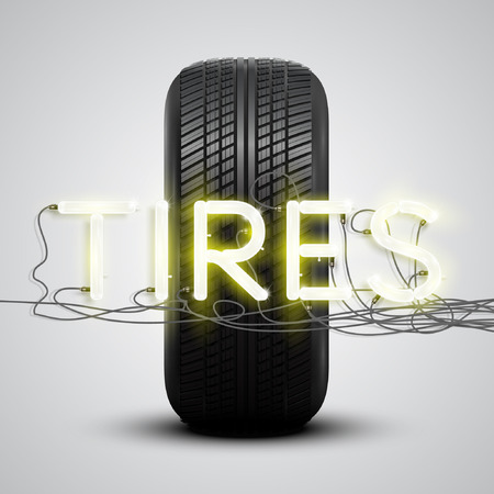 High detailed The tire with neon sign, vector