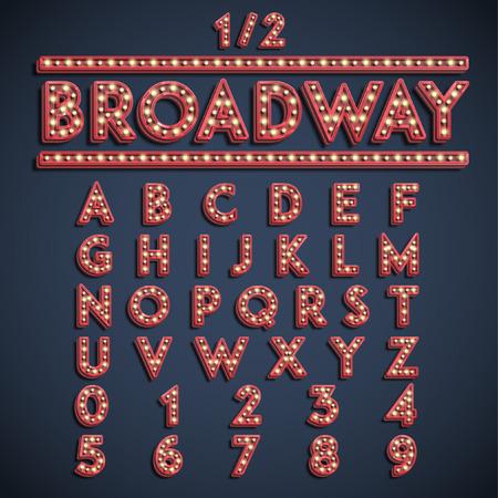Broadway font set, vector Stock Illustratie
