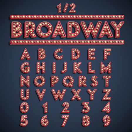 Broadway font set, vector Illustration