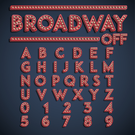 Broadway font set, vector 일러스트