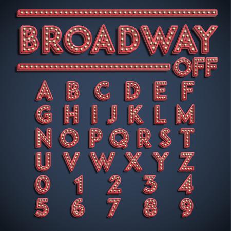 Broadway font set, vector Illustration