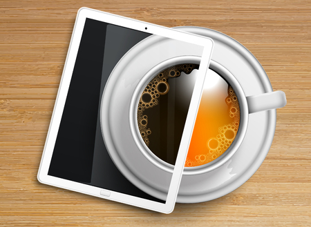 Wooden background with tea  coffee and a tablet, vector Illustration