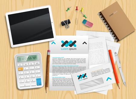 Desk scene, vector Illustration