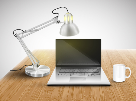 Office table with laptop and lamp mug, vector