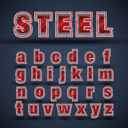 aluminum: Steel font character set, vector Illustration