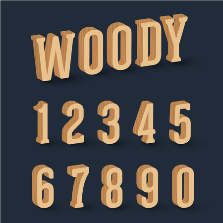 Wooden numbers, vector Illustration