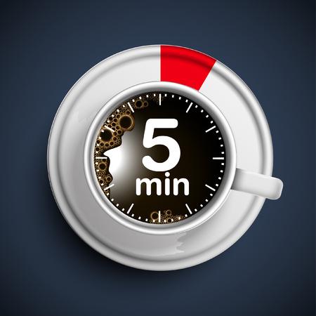 5 minute coffee break illustration, vector Illustration