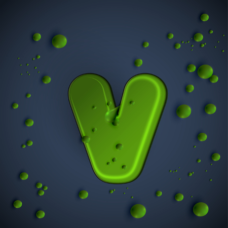 Green slime character from the Typefaces, vector Illustration
