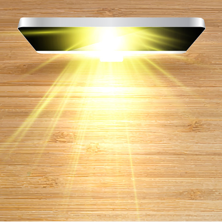 Shining on wooden desk monitor, vector